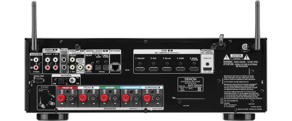 Denon AVR-S650H Rückansicht