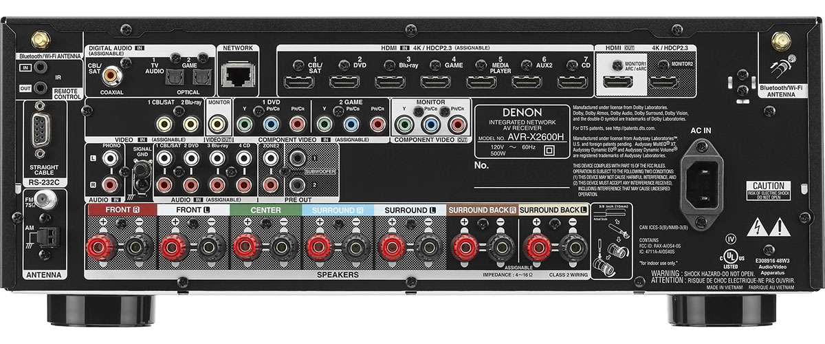 Denon AVR-X2600H Rückansicht