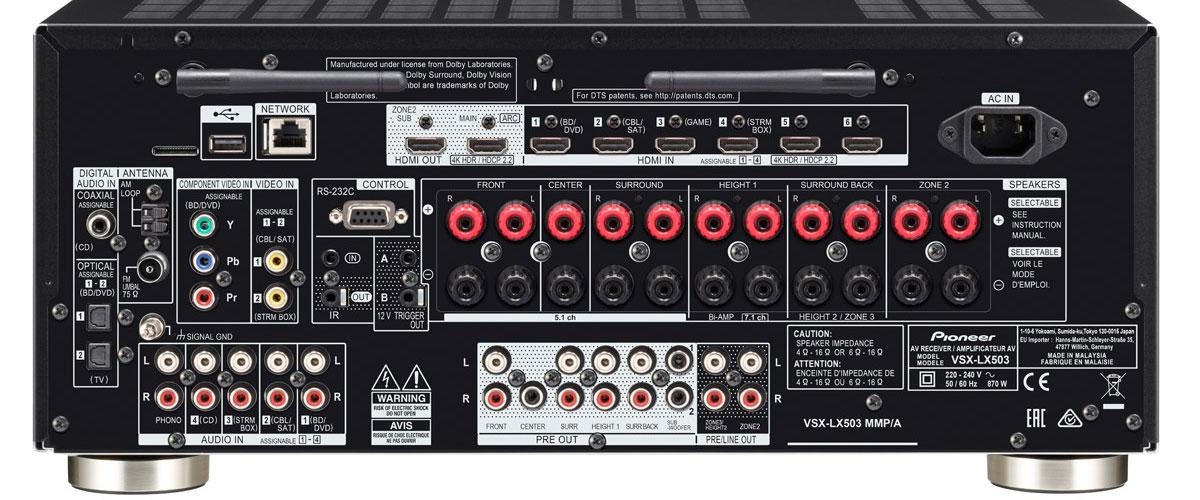 Pioneer VSX-LX503 Rückansicht